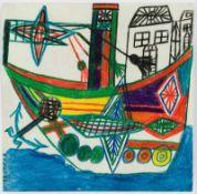 Johann Hauser Bratislava 1926 - 1996 Gugging Schiff Mischtechnik auf Papier 19 x 19 cm rückseitig
