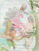Siegfried Anzinger Weyer 1953 geb. Astgabelmädchen Leimfarbe auf Leinwand 130 x 100 cm 2006-2007