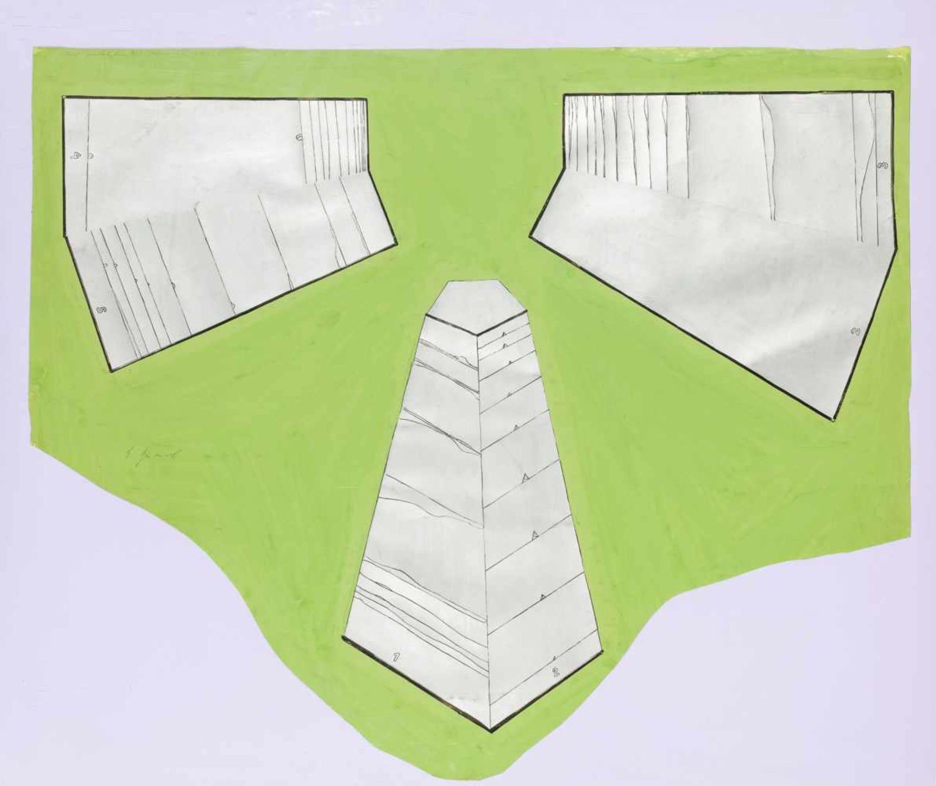 Los 6 - Bruno Gironcoli * Villach 1936 - 2010 Wien Ohne Titel (Entwurf für eine Plastik) Mischtechnik auf