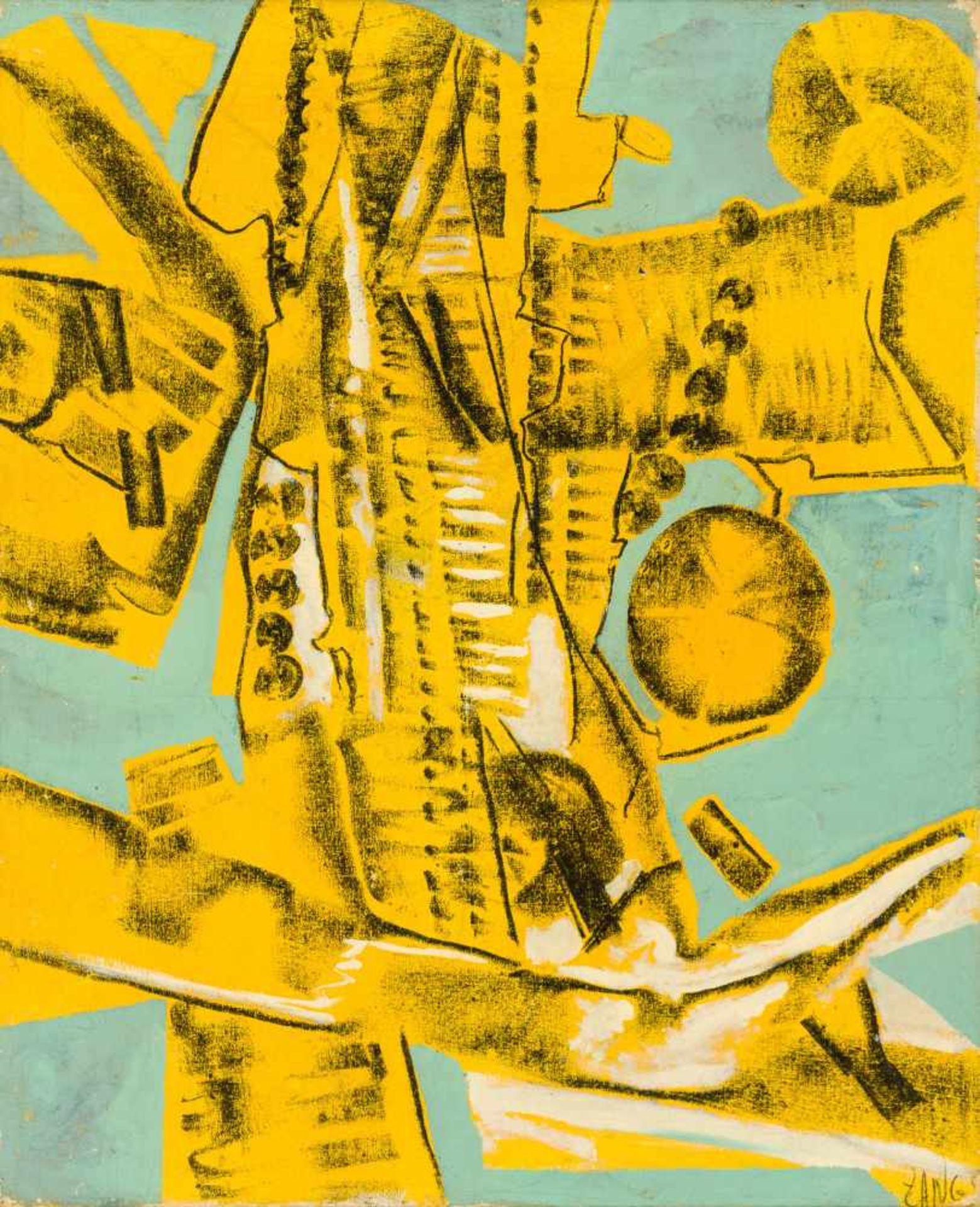 Los 5 - Herbert Zangs Krefeld 1924 - 2003 Krefeld Yellow Wheelwalks Öl auf Leinwand 84 x 68 cm rechts