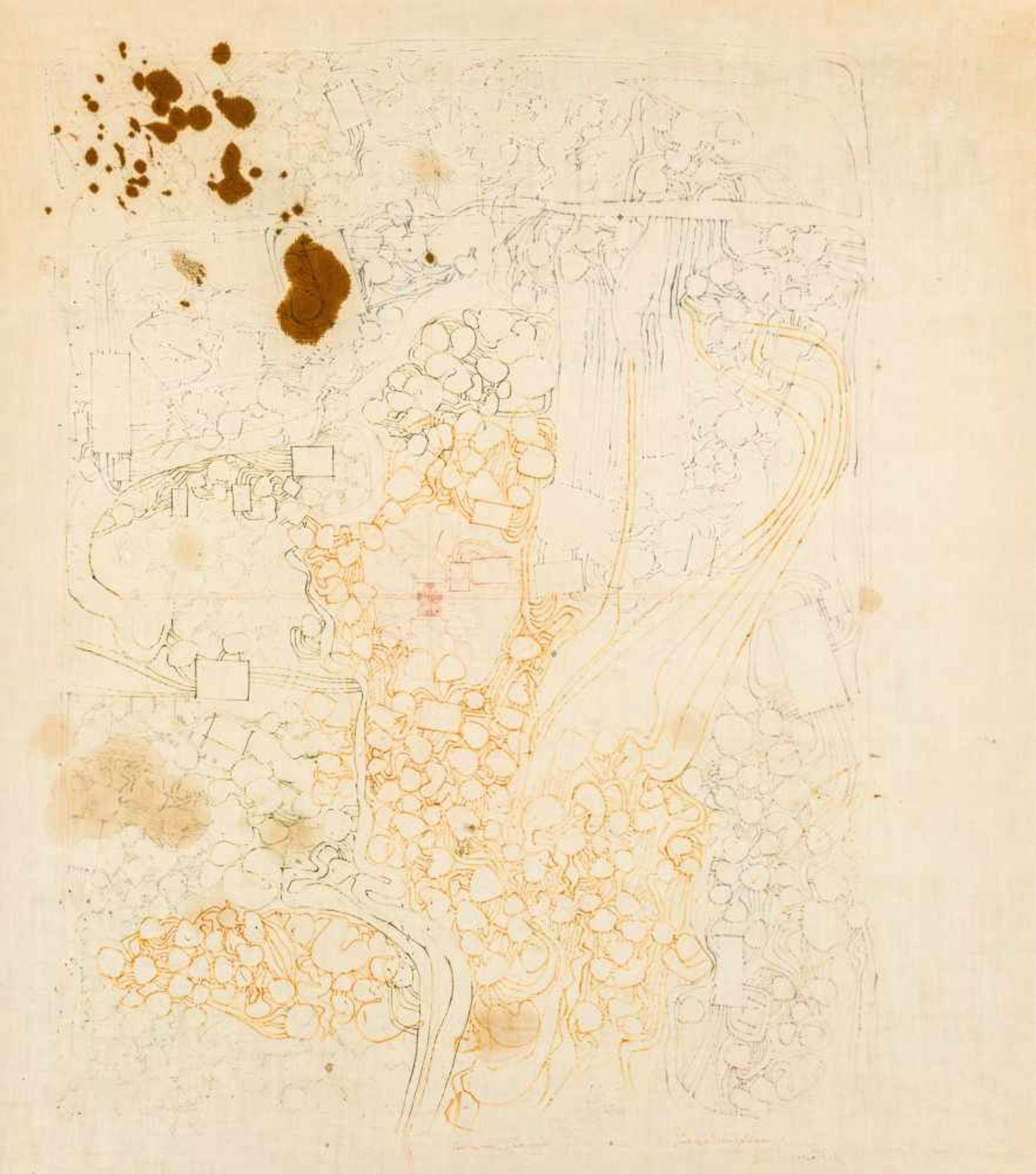 Los 19 - Hermann Nitsch Wien 1938 geb. Architekturzeichnung Farbstift und Blut auf Molino 90 x 80 cm 1978/
