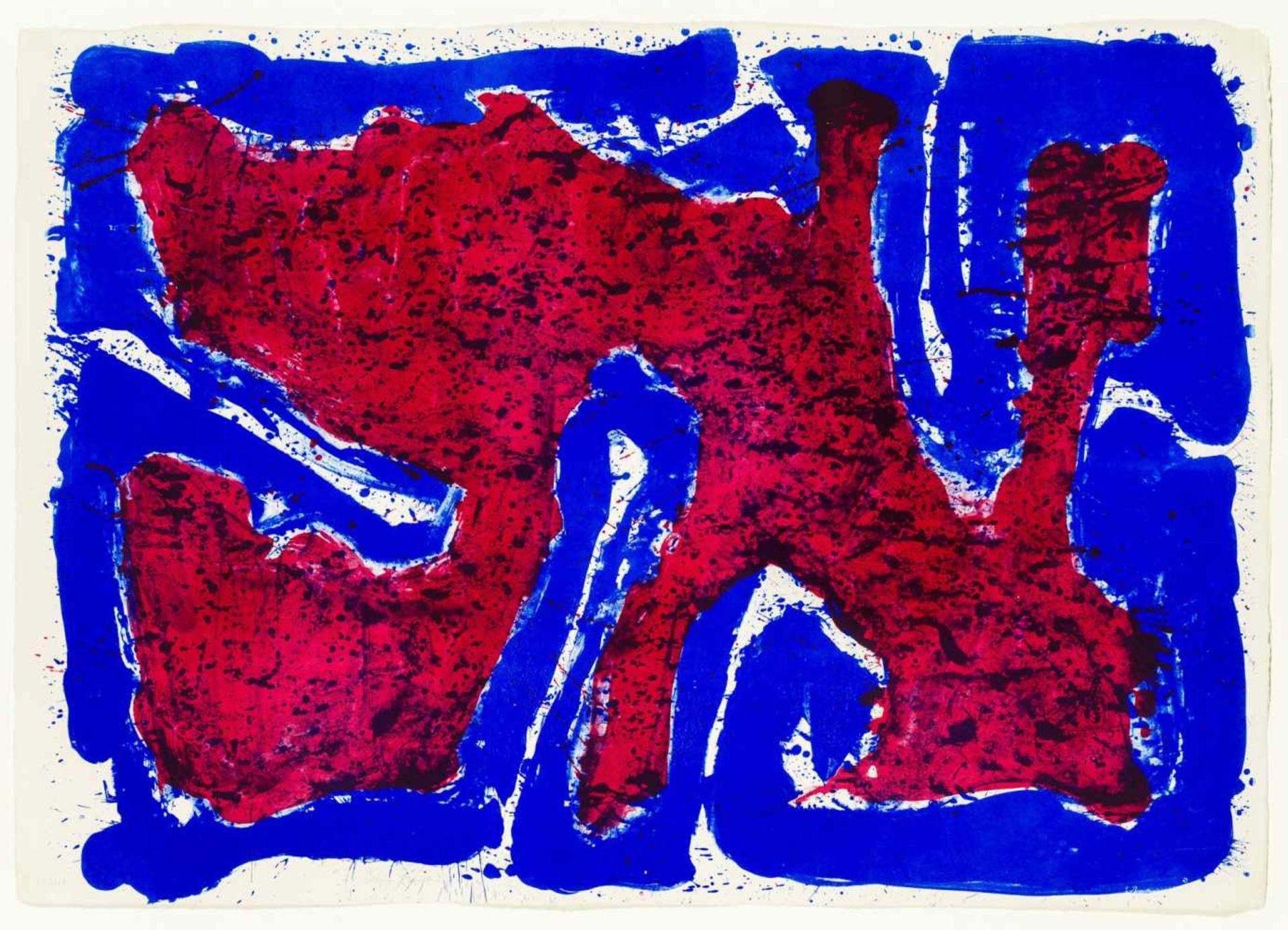 Los 27 - Sam Francis San Mateo 1923 - 1994 Santa Monica Serpent on the stone Farblithographie auf Papier 63,5