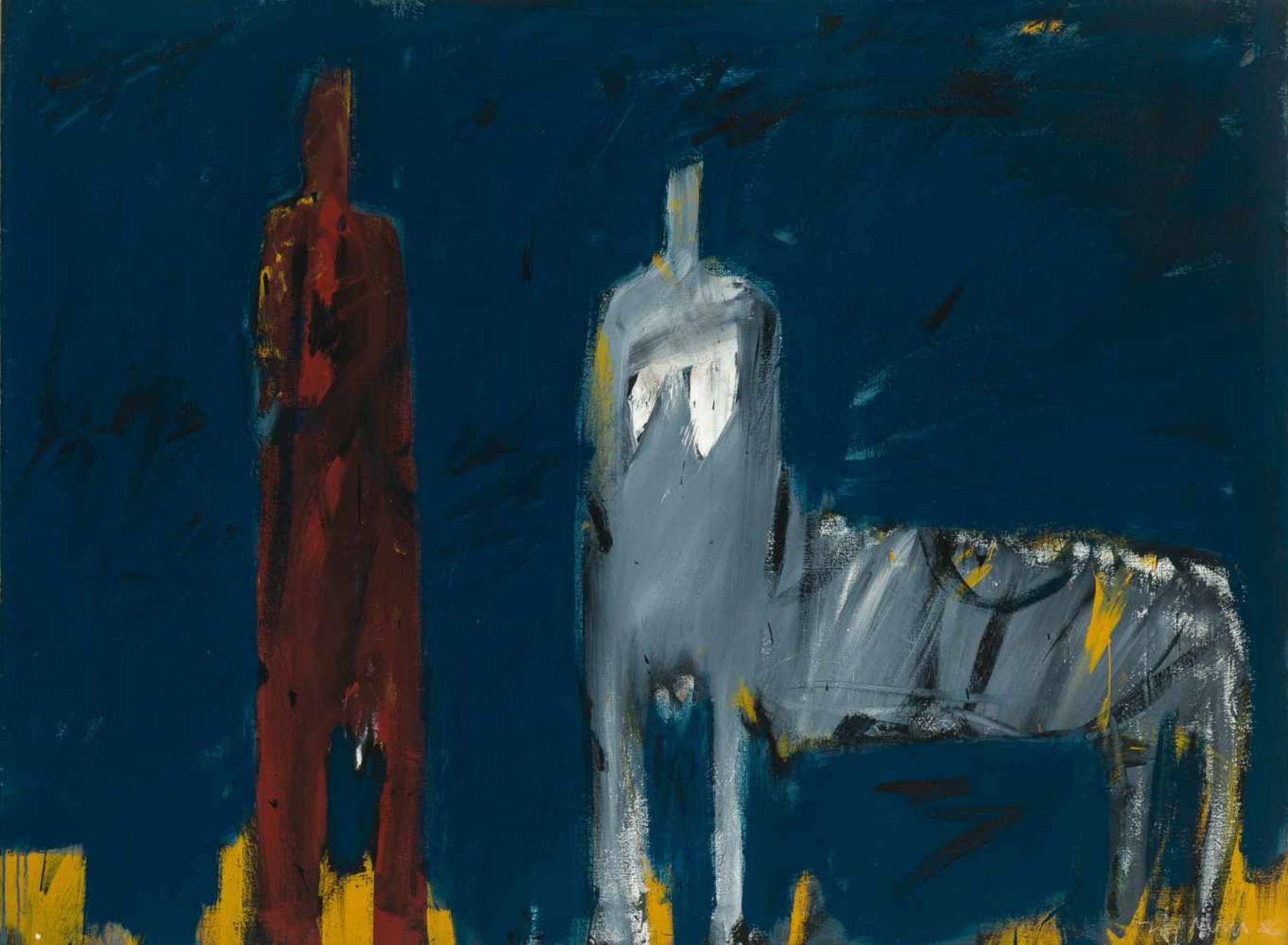 Los 51 - Leo Zogmayer * Krems 1949 geb. Kentaurin Öl auf Leinwand 100 x 135 cm 1986 rechts unten signiert und