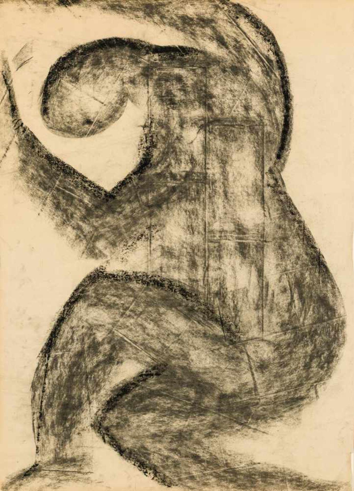 Los 58 - Peter Kogler Innsbruck 1959 geb. Ohne Titel (Figur) Kreide auf Papier 86 x 61 cm 1984 rückseitig