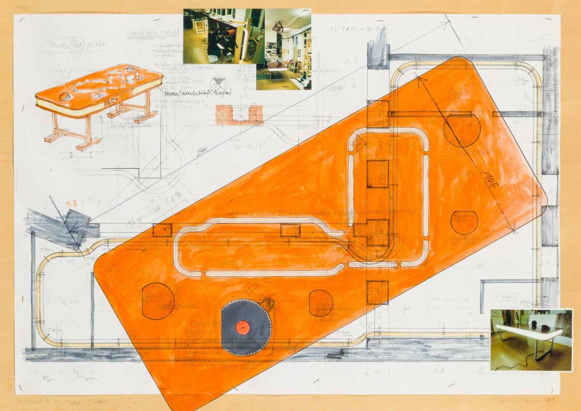 Los 28 - Hans Schabus * Watschig 1970 geb. Reißbrett Nr. 27 (Tischlerpl. - Grundriss) Mischtechnik, Collage