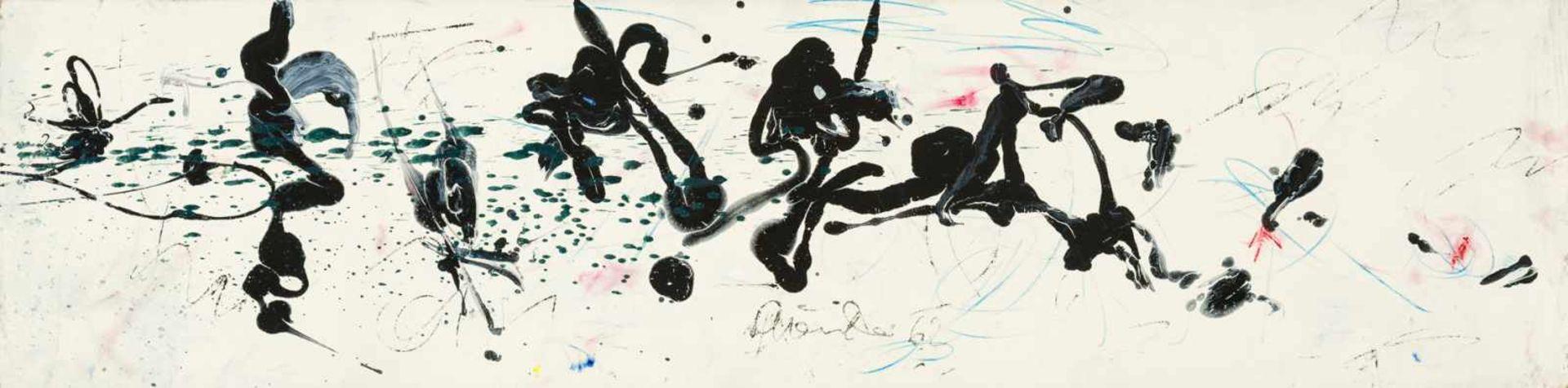 Los 16 - Hans Staudacher St. Urban 1923 geb. HAIKU Öl auf Platte 32,7 x 129,7 cm 1962 unten mittig signiert