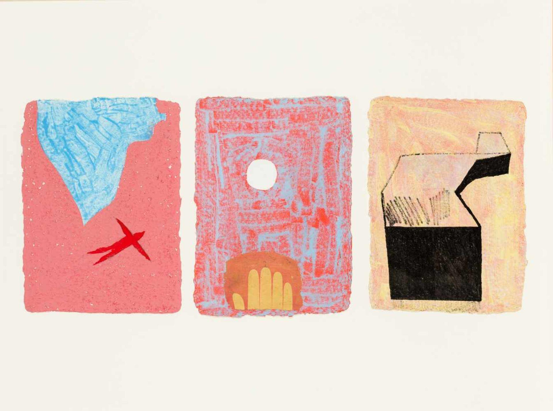 Los 41 - Johannes Zechner Klagenfurt 1953 geb. MASADA (Israel) Triptychon Mischtechnik auf Karton je 31 x