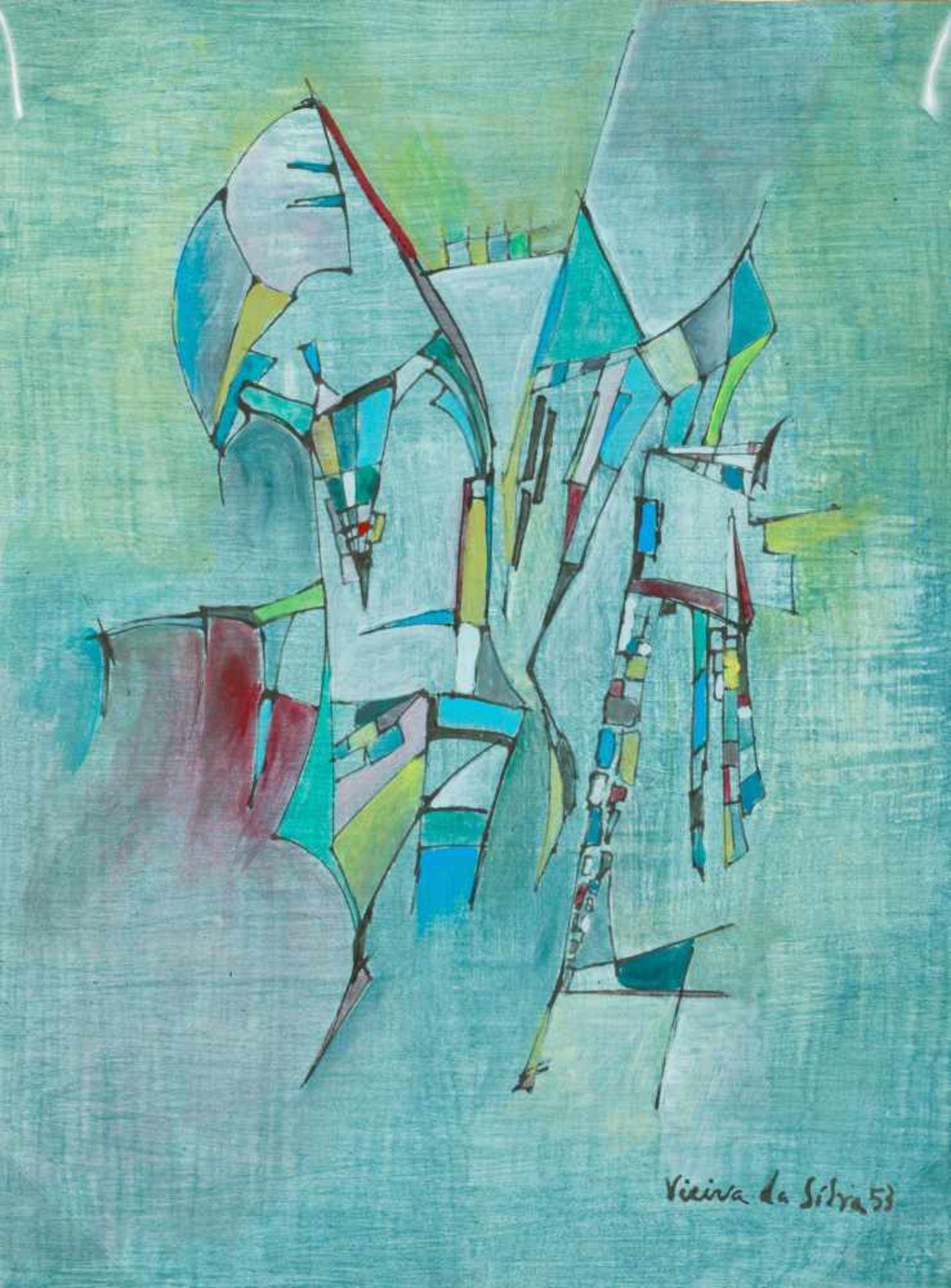 Los 3 - Maria Elena Vieira da Silva Lissabon 1908 - 1992 Paris Abstraktion Tempera - Gouache auf Papier