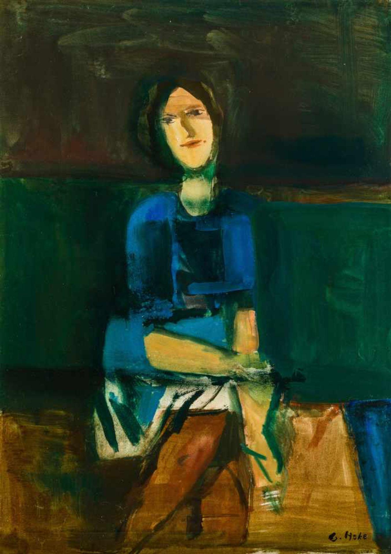 Los 50 - Giselbert Hoke Warnsdorf 1927 - 2015 Klagenfurt Sitzende Frau Öl auf Papier 69 x 48 cm 1970er