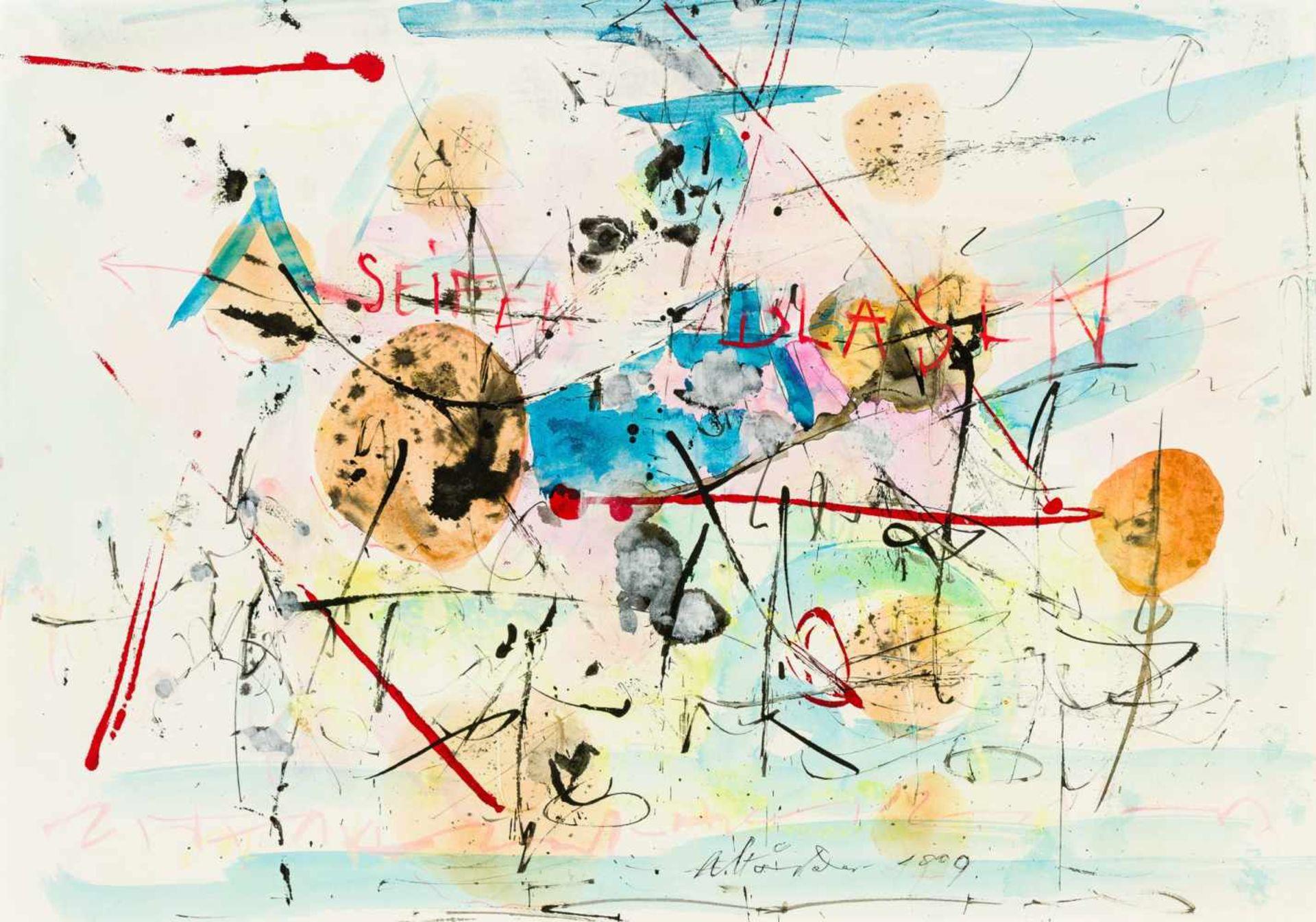 Los 61 - Hans Staudacher St. Urban 1923 geb. Seifenblasen Aquarell auf Papier 50 x 70 cm 1999 unten mittig