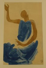 Lot 546 - RODIN print - a female in a blue dress purchased from the Rodin museum, Paris, 1987 with original