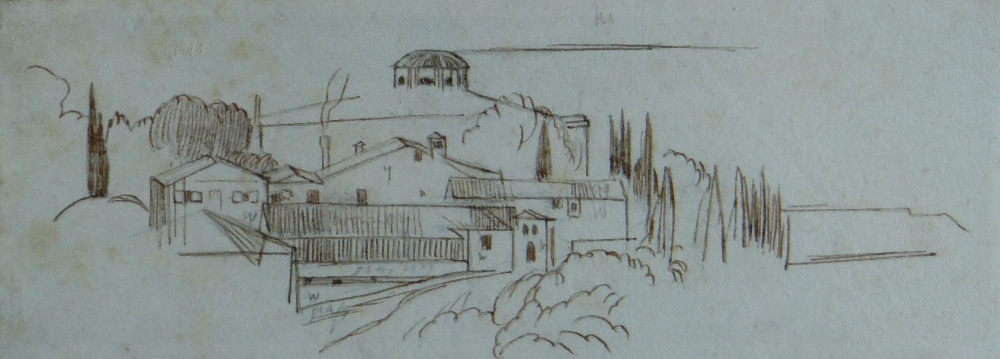 Lot 547 - EDWARD LEAR pen & ink - small sketch of Italian village, possibly preliminary sketch for a larger