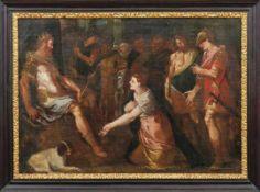 Esther bittet König Ahasveros um Gnade für ihr jüdisches Volk Italien, 17. Jh. Öl/Lwd., doubl. 76