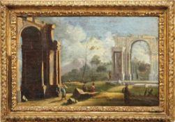 Ruinenlandschaft mit Figuren Italien, 18. Jh. Öl/Lwd., doubl. 29,5 x 47 cm.