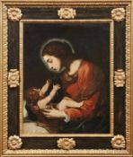 Tiarini, Alessandro (Attrib.) Madonna mit Kind (Bologna 1577-1668) Öl/Lwd., doubl. 83 x 64 cm; in