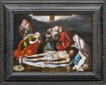 Beweinung Christi Flämischer Meister des 16. Jahrhunderts Der am Boden auf einem weißen Leinen