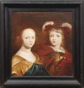 Bildnis eines Geschwisterpaares mit Falken Flämischer Meister des 17. Jahrhunderts Öl/Lwd., doubl.