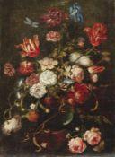 Pendants Blumenstillleben mit Früchten und Insekten 17. Jh. Öl/Lwd., doubl. 65 x 48,5 cm; unger.
