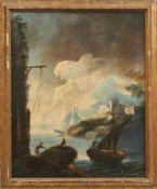 Felsige Küste mit Fischerbooten und Festung auf einer Anhöhe Italienische Schule des 18.