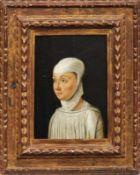 Veneziano, Jacometto (Attrib.) Bildnis einer Novizin (Erw. um 1472-1497) Öl/Holz. Verso rotes
