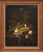 Früchtestillleben mit Schmetterlingen Flämischer Meister des 17. Jahrhunderts Öl/Lwd., doubl. 72,5 x