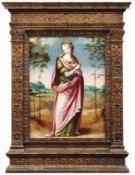 Heilige Praxedis Florentinischer Meister des 16. Jahrhunderts In Landschaft stehende Heilige mit