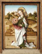 Gotisches Tafelbild mit der heiligen Christina von Bolsena Süddeutschland, 15. Jh. Mit ihrem