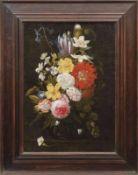 Blumenbouquet in einer Glasvase Flämischer Stilllebenmaler der 17. Jahrhunderts Öl/Lwd., doubl. 52,5