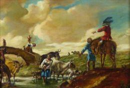 Berchem, Nicolaes - Nachfolger des 19. Jh. Hirten mit ihren Tieren an einem Bach mit Kavalier zu