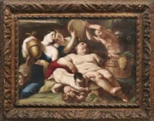 Der trunkene Bacchus im Kreise seiner Gefährten Italienische Schule des 17. Jahrhunderts Öl/