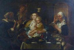Jordaens, Jacob - Kopie nach Interieur mit musizierender Großfamilie (Antwerpen 1593-1678 ebd.) Öl/