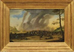 Paar Reiterschlachten Süddeutschland, 17./18. Jh. Gefecht vor einer befestigten Stadt und Überfall