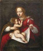 Maria lactans 17. Jh. Öl/Lwd., doubl. 70 x 57 cm; unger.