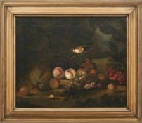 Waldbodenstück mit Früchten und Singvogel Flämischer Stilllebenmaler des 17. Jahrhunderts Öl/Lwd.,