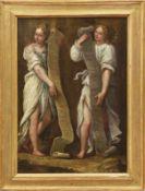 """Zwei Engel mit Schriftrollen Italienischer Maler des 17. Jahrhunderts """"Gloria in excelsis Deo"""""""