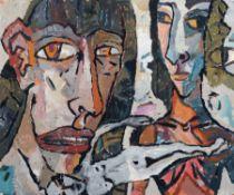 """Leonore Adler """"C.D. und E.F. (mit Genius)"""". 1988. Acryl und Latex auf leichtem Karton. U.li."""
