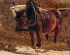 Bernhard Mühlig, Studie eines Pferdes mit Kummet und Karren. 2. H. 19. Jh. Öl auf Papier. Verso in