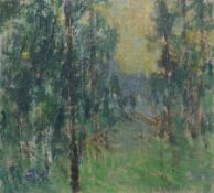 Fritz Eisel, Baumbestandene Landschaft. 2. H. 20. Jh. Öl auf Leinwand, auf Hartfaserplatte