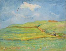 """Richard Dreher, Felder bei Rockau (Dresden). 1915. Öl auf Leinwand. Signiert """"Dreher"""" und datiert"""