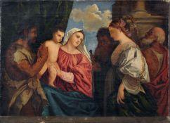 """Ferdinand Pauwels (zugeschr., Kopie nach Tizian) """"Maria mit dem Kind und vier Heiligen"""". Wohl um"""