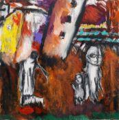 "Paola Alborghetti ""Sonntagsspaziergang"" 2008. Acryl auf Leinwand. Verso in Faserstift signiert """