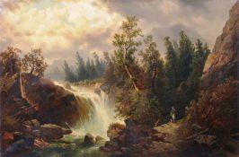 """Josef Thoma, Jäger am Wasserfall im Gebirge. Mitte 19. Jh. Öl auf Leinwand. U.re. signiert """"J."""