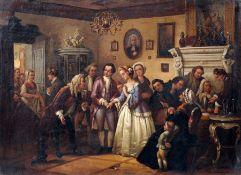 """Joseph Anton Bauer (zugeschr.) """"Verlobung"""". 1. H. 19. Jh. Öl auf Leinwand. Signiert u.li. """"Bauer"""
