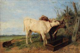 """Richard Ansdell, Zwei Kälbchen an der Tränke. 1852. Öl auf Malpappe. Signiert """"R. Ansdell"""" und"""