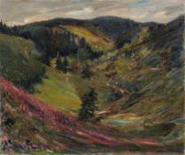 """Friedrich Wilhelm Fischer-Derenburg, Landschaft im Harz. 1924. Öl auf Leinwand. Signiert u.re. """"FW"""