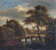 Unbekannter Künstler, Baumbestandene Flußlandschaft mit Brücke und Blick zu einer Mühle. Spätes