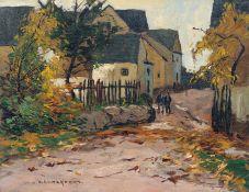 """Otto Ackermann """"Aus Schadeck an d. Lahn"""". 1. H. 20. Jh. Öl auf Sperrholz. Signiert """"O. ACKERMANN"""""""