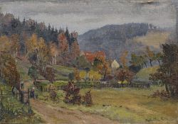 """Siegfried Donndorf, Landschaft im Erzgebirge. 1954. Öl auf Rupfen. Signiert """"Siegfried Donndorf"""" und"""