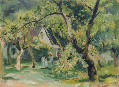 """Kurt Bunge """"Der Apfelbaum"""". Vor 1946. Öl auf Malpappe. Verso auf einem Klebeetikett in Tusche"""