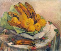 Richard Dreher, Stillleben mit Zitronen und Bananen. 1. Viertel 20. Jh. Öl auf Leinwand. Unsigniert.